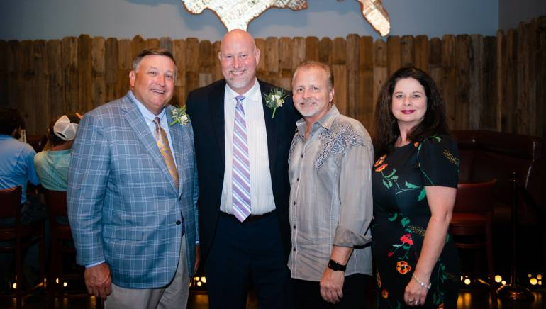 Pictured (L-R) before Frank Myers' performance are: LRA President and CEO, Stan Harris; LRA Board Chair and owner of Pitt Grill Restaurant, Rob King; BMI songwriter Frank Myers and BMI's Jessica Frost.