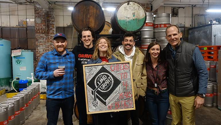 Pictured (L-R) before Liz Cooper & The Stampede's performance at Land Grant Brewing in Columbus are: Land Grant Brewing owner and President Adam Benner, Liz Cooper and The Stampede's Grant Prettyman, Liz Cooper and Ryan Usher, Land Grant Brewing's Entertainment Coordinator Kayla Chandler and BMI's Dan Spears.