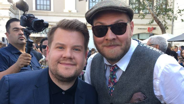Pictured on the right is BMI composer Dominic Lewis with actor James Corden, who is the voice of Peter Rabbit in the long-awaited film.