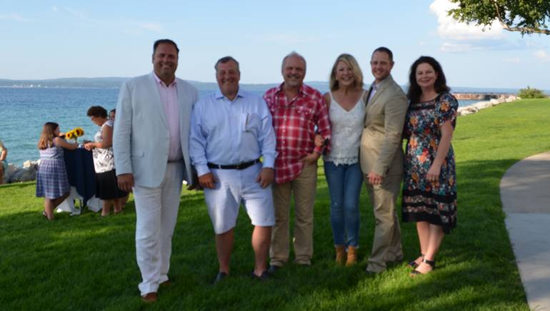 Pictured (L-R) before Kent Blazy's performance at the Michigan Restaurant Association Board Retreat are: President and General Manager Boyne Highlands Resort and MRA Past Board Chairman Brad Keen, President at Island House Hotel Mackinac Island, Michigan and Current MRA Board Chairman Todd Callewaert, BMI songwriter Kent Blazy and his wife Cyndi, President and CEO of the Michigan Restaurant Association Justin Winslow and BMI's Jessica Frost.