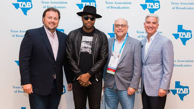 Pictured (L-R) before Mobley's performance are: BMI's Mason Hunter, BMI songwriter Mobley, HD Radio's Rick Greenhut and TAB President Oscar Rodriguez.