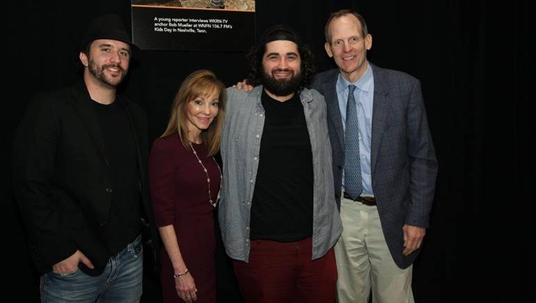 Pictured (L-R) after the Blue Trees performance at the 2018 NAB State Leadership Conference are: The Blue Trees' James Cody; Beasley Media Group CEO, BMI Board Member and NAB Joint Board Chair Caroline Beasley; BMI artist Jacob Needham and BMI's Dan Spears.