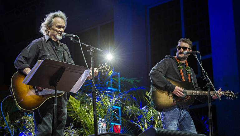 Fans were surprised by a performance from Kris Kristofferson during Eric Church's set at the final show of the Maui Songwriters Festival in 2017.