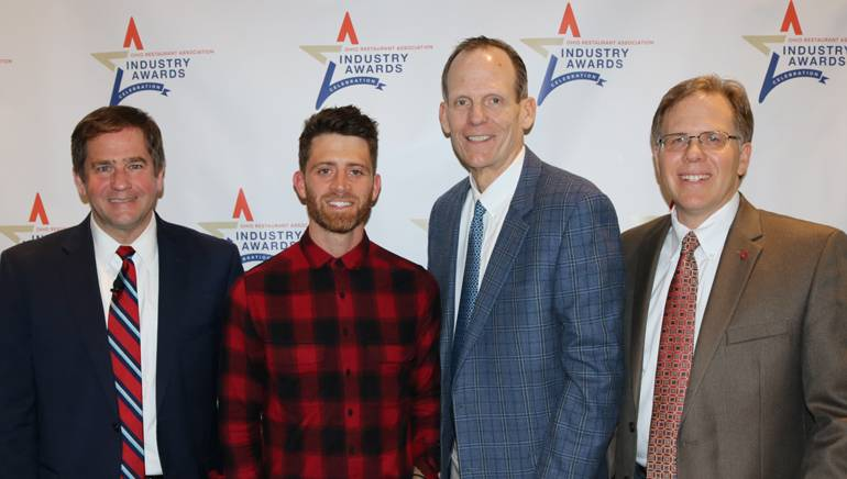 Pictured (L-R) before Brendan James' performance at the ORA Industry Awards dinner are: ORA Board Chair and White Castle VP of Government & Shareholder Relations Jamie Richardson, BMI singer-songwriter Brendan James, BMI's Dan Spears and ORA President and CEO John Barker.