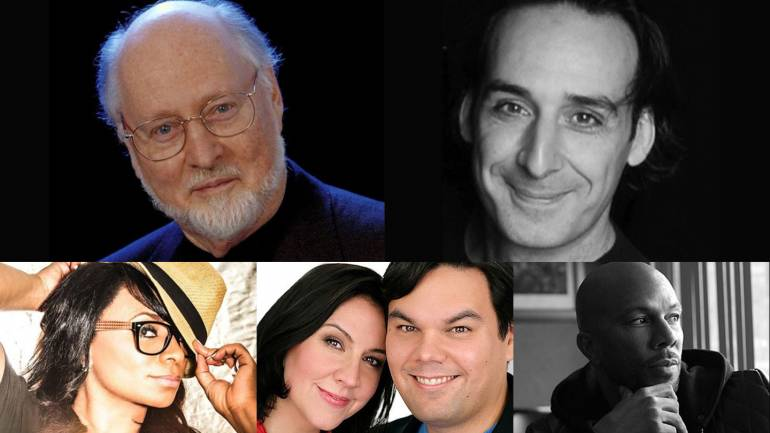 Pictured clockwise from top left are John Williams, Alexandre Desplat, Common, Kristen Anderson-Lopez and Robert Lopez and Taura Stinson.