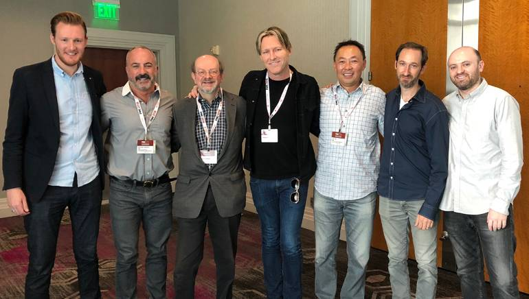 Pictured (L to R) at the PMC conference are BMI's Chris Dampier and Michael Crepezzi, Jon Burlingame, BMI composer Tyler Bates, BMI's Ray Yee, Andrew Gross and BMI's Phil Shrut.