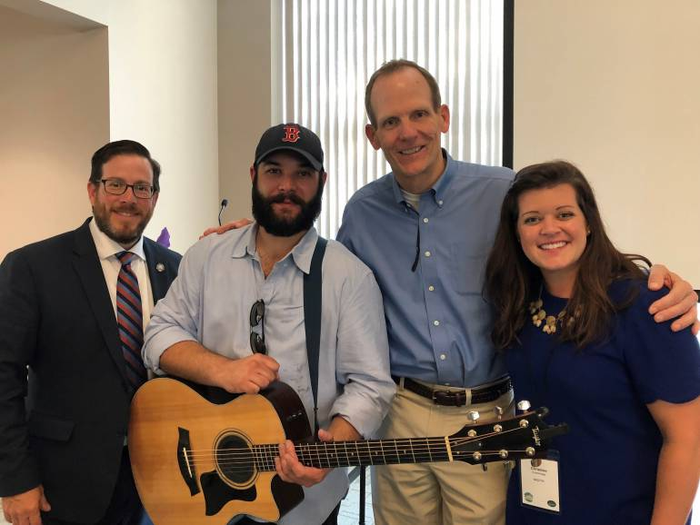 Pictured after Sam James' performance at The Summit are: Retail Association of Maine Executive Director Curtis Picard, BMI songwriter Sam James, BMI's Dan Spears and Maine Grocers & Food Producers Association Executive Director Christine Cummings.