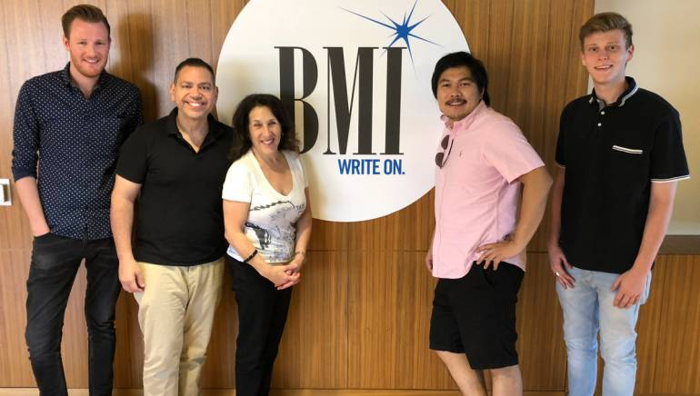 Pictured (L to R) are BMI's Chris Dampier, Raymond Rodriguez and Barbie Quinn, BMI composer Roc Chen, and Alex Deblanc.
