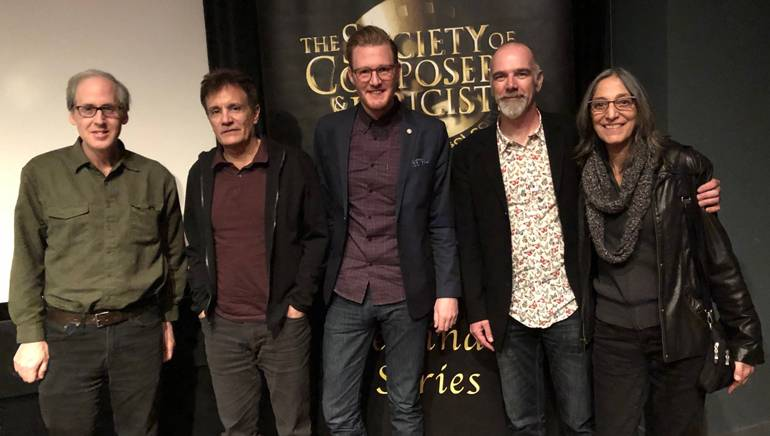 Pictured are: BMI composers Jeff Beal and Gary Lionelli, BMI's Chris Dampier and BMI composers Fletcher Beasley and Miriam Cutler
