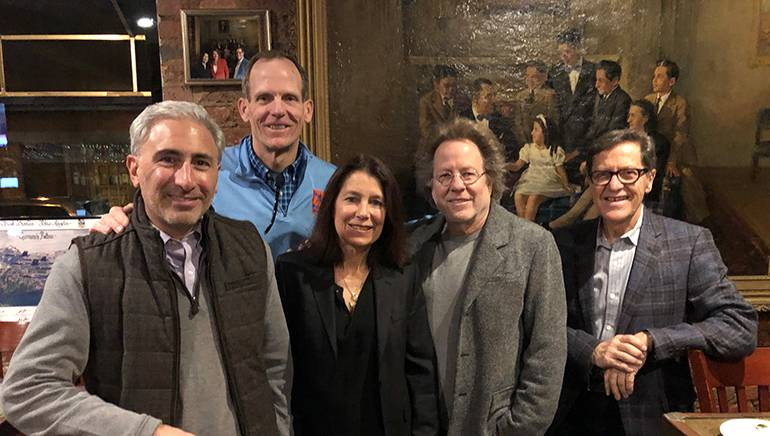 Pictured (L-R) before Steve Dorff's performance at Germano's Piattini Cabaret in Baltimore are: WBAL-AM & WIYY-FM President/GM Cary Pahigian, BMI's Dan Spears, Germano's Piattini co-owner Cyd Wolf, BMI songwriter Steve Dorff and Germano's Piattini co-owner Germano Fabiani.