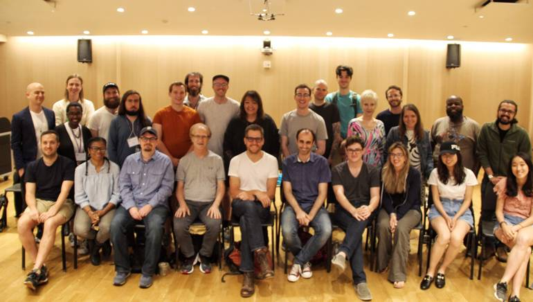Pictured (L-R top row) are members with faculty and guest speakers of the workshop including: Israel (Izzy) Glicksberg, Martin Crane, Marissa Hickman, Richard Rusincovitch, Fadi Khoury, Colton Dodd, Nitzan Sagie, Peter Corrigan, BMI's Doreen Ringer-Ross, Keegan Riley, Josh Graham, Curtis Green, Janice Grace, Alex Utay, Maria Linares, Johnny Mercier and Mark Benis. (bottom row): Richard Tamplenizza, Carmen Thompson, Matthew Akers, BMI composers Mark Suozzo and Chad Fischer, NYU faculty and workshop coordinator Sergi Casanelles, Darian Harmon, Lauren Lucente, Yunfei Li and Ching-Shan Chang.