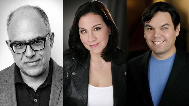Pictured are David Yazbek, Kristen Anderson-Lopez and Robert Lopez