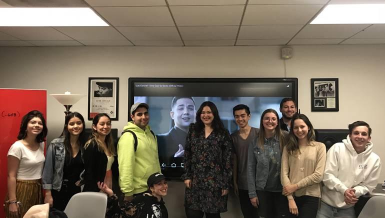 BMI's Krystina DeLuna (center) joins Professor Loren Medina's USC class on the Latin music industry.