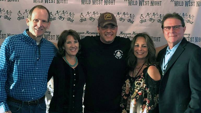 Pictured (L-R) before Rodney Atkin's performance at The Meggan Morency Wild West Night in Weston, Florida are: BMI's Dan Spears, The Mesnik Group president Denyse Mesnik, BMI songwriter Rodney Atkins, Vicki Morency and Beasley Media market manager for Boca Raton, Bob Morency.