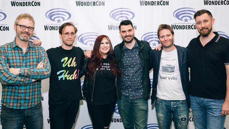 """(L to R): Composers Mark Rivers, Tim Kiefer, BMI's Senior Director Film, TV & Visual Media RelationsAnne Cecere, Composers Ryan Elder, Tom Howe and President of White Bear PRChandler Poling at """"Music in Animation"""" panel atWonderCon on Sunday, March 25th in Anaheim, CA."""