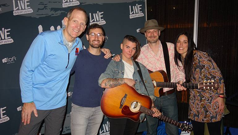 Pictured (L-4) before the Aloft Cleveland Downtown BMI songwriters showcase are: BMI's Dan Spears, BMI songwriters Rob Kovacs, Madeline Finn and Jason White, and Aloft Cleveland Downtown Food & Beverage supervisor Jessie Kelkenberg.