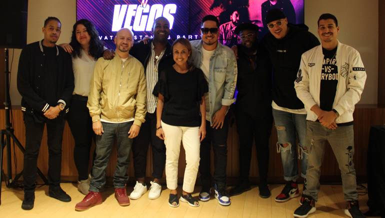 Pictured (L to R): BMI's Cee Barrett and Krystina DeLuna, BYI's Lulu Torres, Curtis Austin, BMI's Delia Orjuela, DJ Yonny, Broadway Williams, Kontraks and Empire Latino's Alan Hensley.