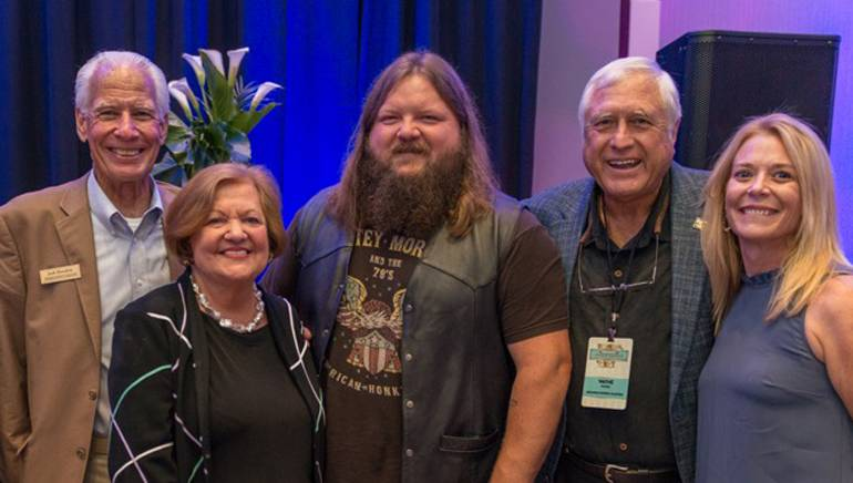 Pictured (L-R) before the performance: AHA Hospitality Ambassador Jack Hendrix, AHA Executive Director Montine McNulty, BMI singer-songwriter Channing Wilson, AHA Past Board President Wayne Woods and BMI's Amy Glover.
