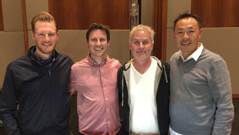 "Pictured (L-R) at the ""Deception"" scoring session are BMI's Chris Dampier, BMI composers Nathan Blume and Blake Neely and BMI's Ray Yee."