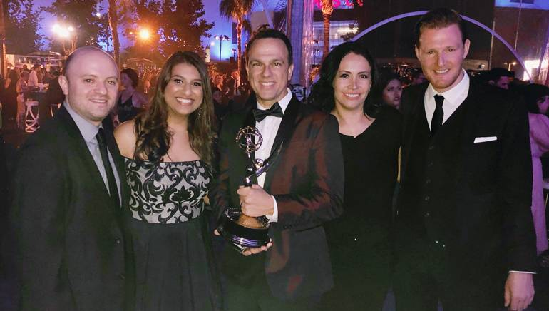 BMI's Phil Shrut, Reema Iqbal, Emmy winner and BMI composer Carlos Rafael Rivera and BMI's Alex Flores and Chris Dampier gather for a photo at the Emmys ceremony.