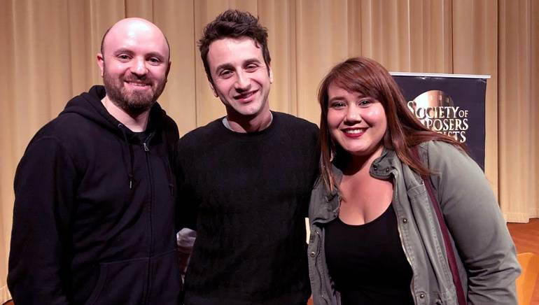 Pictured (L-R) at the screening are BMI's Philip Shrut, BMI composer Justin Hurwitz, and BMI's Evelyn Rascon.