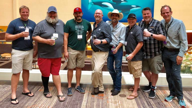Pictured after the music licensing panel are: Tampa Bay Brewing Company owner/founder David Doble, Proof Brewing Company Regional Sales Director and Florida Brewers Guild Board member Allan Truesdell, Intuition Ale Works owner/founder and FBG Board member Ben Davis, FBG Executive Director Sean Nordquist, BMI songwriter Clint Daniels, Tampa Bay Brewing Company Director of Community Engagement and FBG Board Secretary Mike Dyer, Coppertail Brewing Company owner/founder and FBG Board President Kent Bailey, and BMI's Dan Spears.