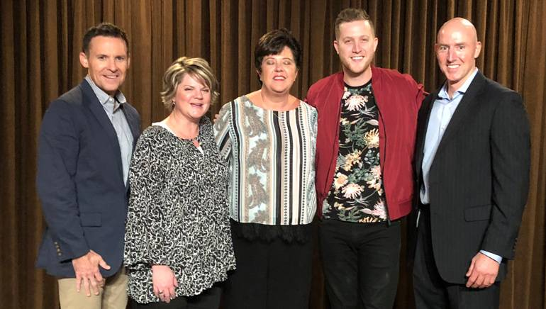 Taken (L-R) after Keelan Donovan's performance: are: BMI's Brian Mullaney, Greystar Director Compliance Services Becky Gibson, Greystar Executive Director Real Estate Strategic Services Jackie Rhone, BMI singer-songwriter Keelan Donovan and BMI's Jack Flynn.