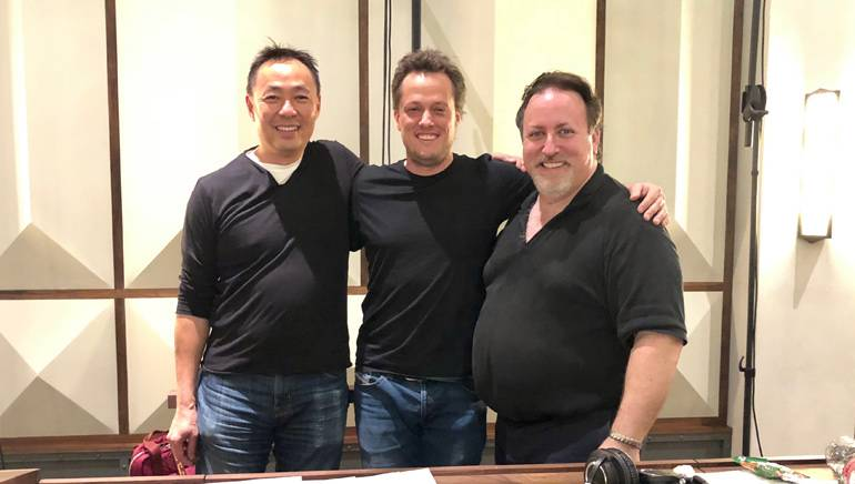 "Pictured at the scoring session for ""The House with a Clock in its Walls"" are BMI's Ray Yee, BMI composer Nathan Barr and BMI composer/conductor Lucas Richman."