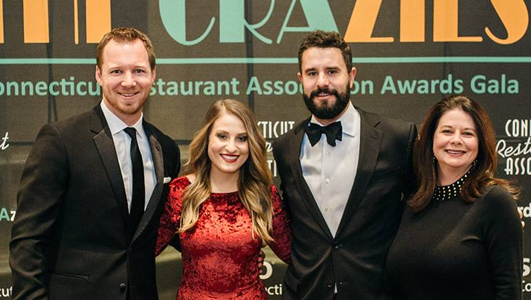 Pictured (L-R) before Stone's performance are: CRA Executive Director Scott Dolch, BMI singer-songwriter Lena Stone, CRA Board Chairman and owner of Oyster Club, Engine Room, Grass & Bone and Stone Acres Farm, Dan Meiser, and BMI's Jessica Frost.
