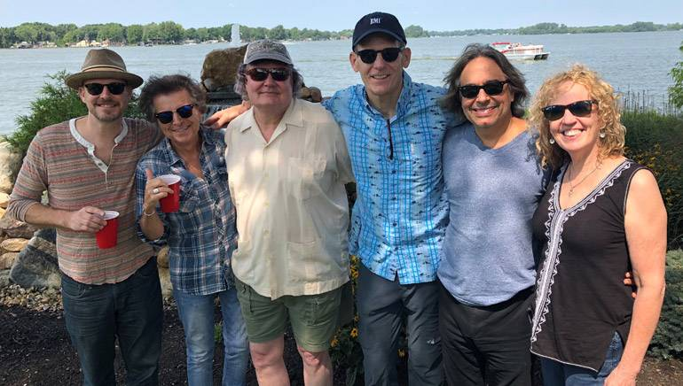 "Pictured (L-R) in front of Indian Lake after ""The Nashville Hitmakers"" show are: BMI songwriters Jason White, Even Stevens and Mike Loudermilk, BMI's Dan Spears, and BMI songwriters James Slater and Alison Prestwood."