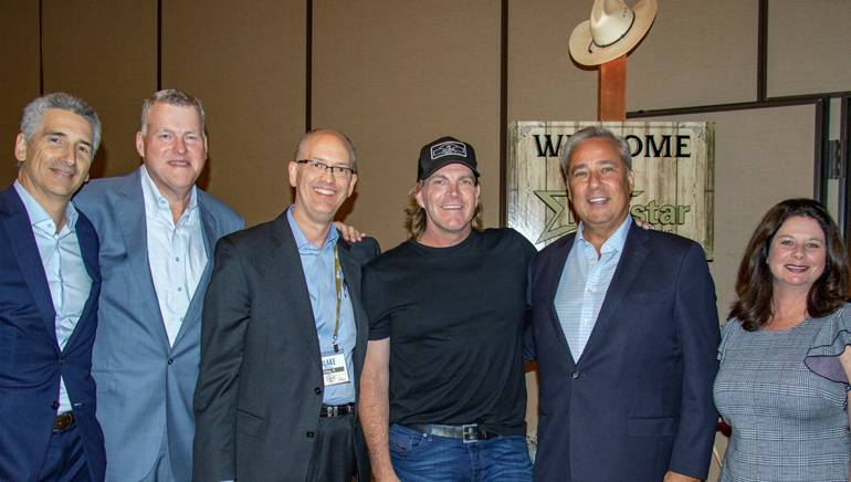 Pictured (L-R) before the performance are: Nexstar Digital President Gregory Raifman, Nexstar Broadcasting President Timothy Busch, Nexstar Broadcasting Executive VP Station Operations and Content Development Blake Russell, BMI award-winning singer-songwriter Jack Ingram, Nexstar Media Group Chairman, President and CEO Perry Sook and BMI's Jessica Frost.