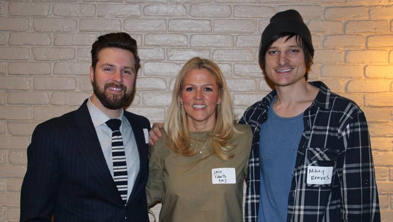 David Smith of Pinnacle Bank, BMI's Leslie Roberts and Next Big Wave alum Mikey Reaves gather for a photo before the first session of BMI's Next Big Wave series.