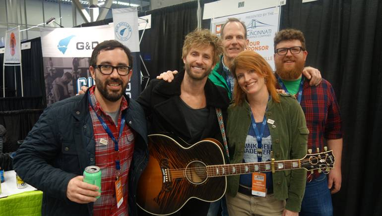 Pictured (L-r) after Paul McDonald's performance at the Ohio Craft Brewers Association Conference are: OCBA Board President and Seventh Son Brewing Company owner Collin Castore,BMI singer-songwriter Paul McDonald, BMI's Dan Spears, OCBA Executive Director Mary MacDonald and OCBA Communications Manager Justin Hemminger.