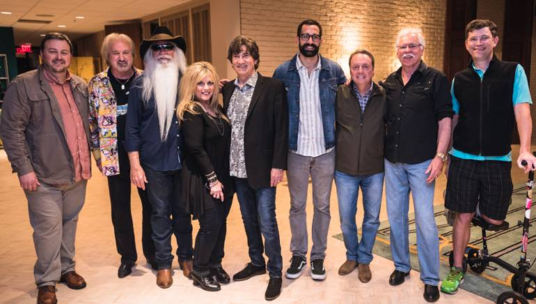BMI's Mason Hunter, Duane Allen, William Lee Golden, 95.5 NASH Icon's Lisa Manning, Richard Sterban, BMI's Branden Bosler, BMI's Jody Williams, Joe Bonsall and Lightning Rod Records' Logan Rogers celebrate a successful show.