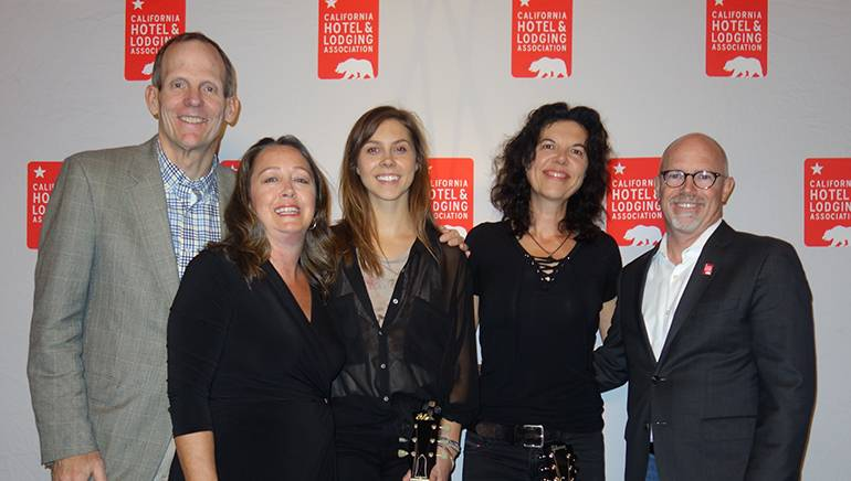 Pictured (L-R) before Roscoe & Etta's performance at the California Hotel & Lodging Association's winter board meeting opening reception are: BMI's Dan Spears, CH&LA Senior Vice President Jennifer Flohr, Roscoe & Etta's Anna Schulze and Maia Sharp, and CH&LA President and CEO Lynn Mohrfeld.