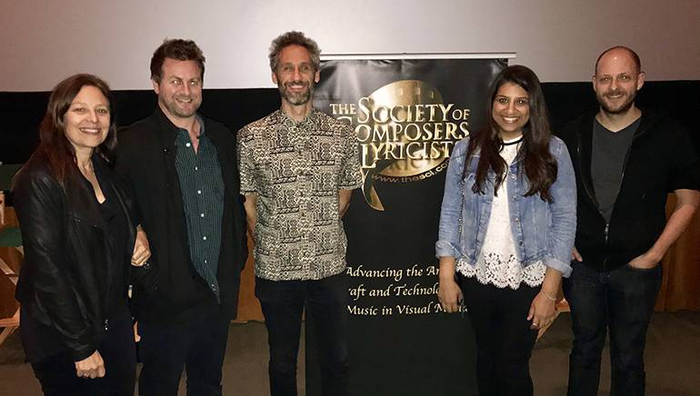 Pictured are: Simonsen's agent Laura Engel, SCL's Mark Smythe, BMI composer Rob Simonsen, BMI's Reema Iqbal and film music journalist Tim Greiving.