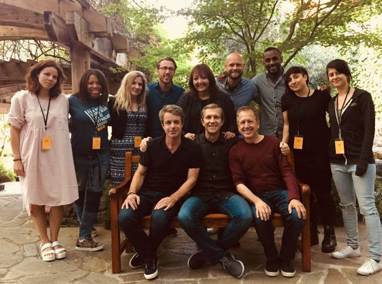 Pictured (L-R back row) are:Anna Drubich, Dara Taylor Christy Carew, Bill Laurance, Doreen Ringer Ross, Rasmus Zwicki, Carlos Simon, Carla Patullo, and Amit May Cohen. (Front row): Harry Gregson-Williams, Skywalker Sound's Josh Lowden and Peter Golub.