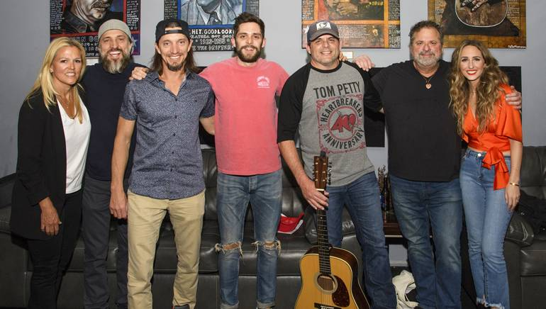 BMI's Leslie Roberts, The Warren Brothers, Thomas Rhett, Rhett Akins, Bob DiPiero and Parker Welling pose backstage at BMI's Tin Pan South show.