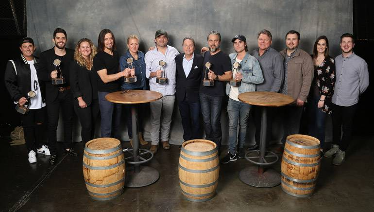 Pictured (L-R) are BMI songwriters Jesse Frasure and Thomas Rhett, BMI's Nina Carter, BMI songwriter Brad Warren, BMI's Leslie Roberts, BMI songwriter Rhett Akins, BMI's Jody Williams, BMI songwriters Brett Warren and Ross Copperman, and BMI's David Preston, Mason Hunter, MaryAnn Keen and Josh Tomlinson.
