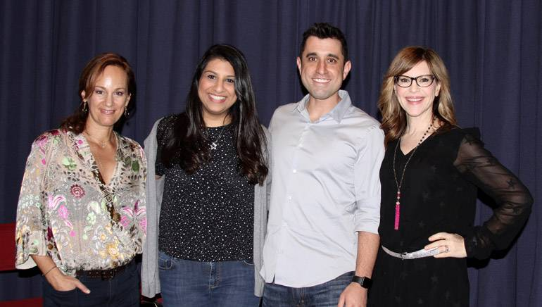 """Composer Lisbeth Scott, BMI's Reema Iqbal, composer Jake Monaco and singer/songwriter Lisa Loeb pause for a photo at the SCL's """"Tunes for Toons"""" presentation on February 6, in LA."""