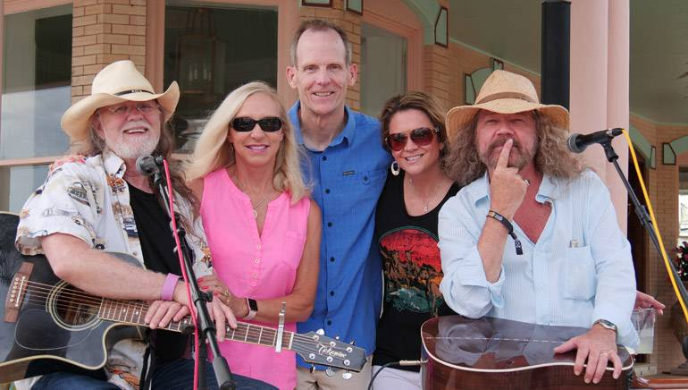 Pictured before the songwriter performances at the BMI/FRLA reception, which was held at the Southernmost Hotel, are: BMI songwriter Aaron Barker, Florida Restaurant & Lodging Association President and CEO Carol Dover, BMI's Dan Spears and BMI songwriters Bridgette Tatum and Earl Bud Lee.
