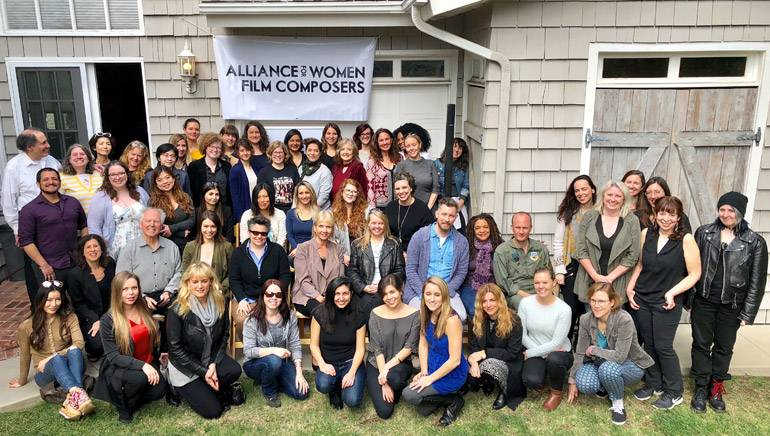 Pictured are members and supporters of the Alliance for Women Film Composers during their annual all-member meeting.