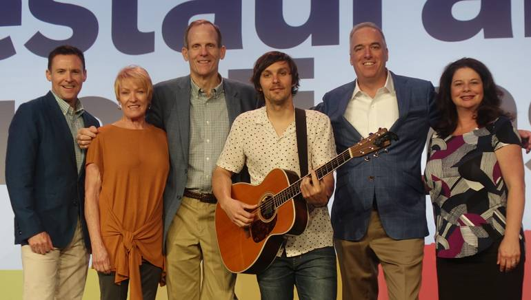 BMI's Brian Mullaney, Winsight Senior VP and Restaurant Events Conference Director Carol Walden,BMI's Dan Spears, BMI songwriter Charlie Worsham, Winsight Group President of Restaurant Media & Events Chris Keating, and BMI's Jessica Frost gather for a photo at the restaurant conference.