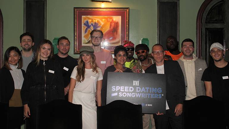 """Participants of """"Speed Dating For Songwriters®"""" gather for a photo at BMI's London office."""