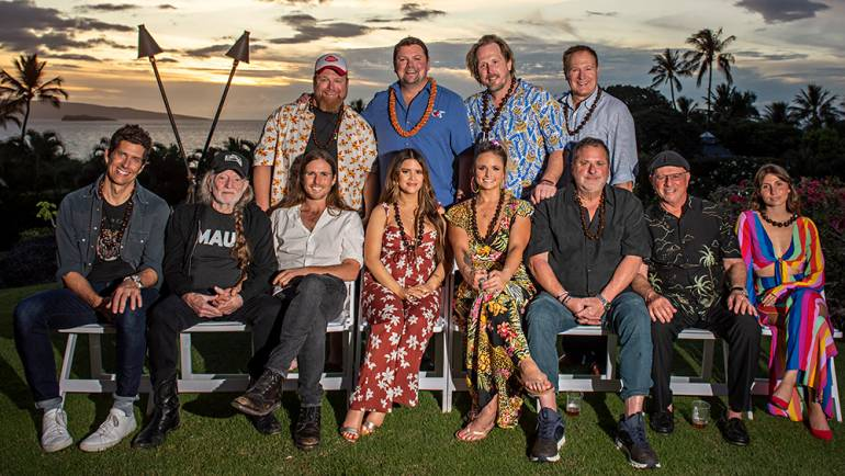 Top Row (L-R): Bobby Pinson, Sirius XM The Highway's Storme Warren, Luke Dick and Tim Nichols. Bottom Row (L-R): Kevin Griffin, Willie Nelson, Lukas Nelson, Maren Morris, Miranda Lambert, Bob DiPiero, Mike Post and Lily Meola.