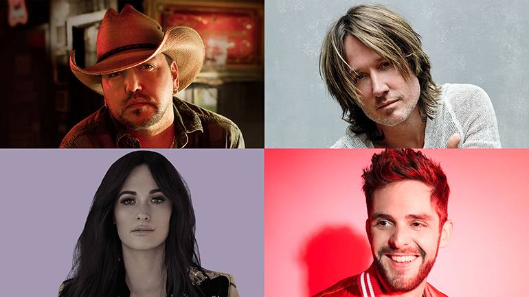 Pictured clockwise from top left are: Jason Aldean, Keith Urban, Thomas Rhett and Kacey Musgraves