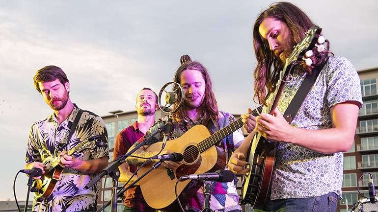 Billy Strings performs on the BMI rooftop for the official 2019 AmericanaFest Kick Off Party.