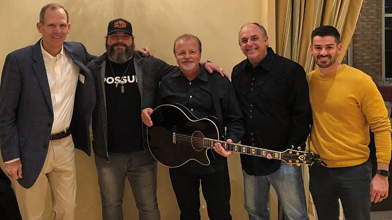 Pictured (L-R) before Whiskey, Wine & Writers in Wilmington, DE are: BMI's Dan Spears, BMI songwriters  Dave Fenley and Frank Myers, WJBR FM Program Director Johnny Baublis, and Beasley Media Group-Wilmington Vice President/Market Manager AJ Lurie.