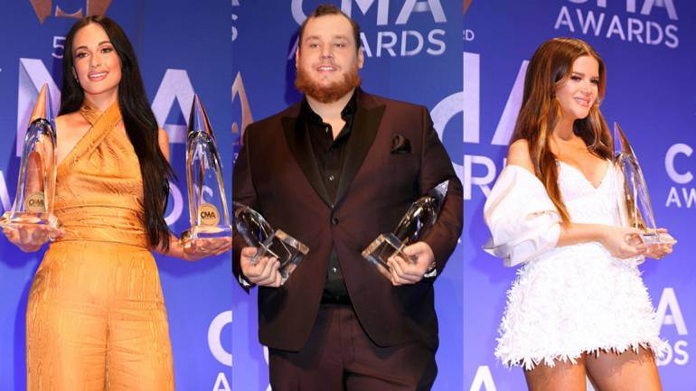 Pictured (L-R) are BMI songwriters Kacey Musgraves, Luke Combs and Maren Morris