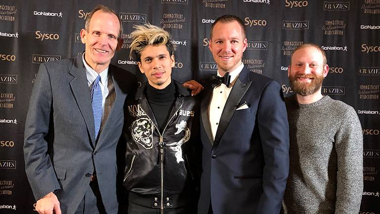 Pictured before BMI songwriter Spencer Ludwig takes the stage at the Connecticut Restaurant Association's awards after-party are: BMI's Dan Spears, BMI songwriter Spencer Ludwig, Connecticut Restaurant Association Pres/CEO Scott Dolch and BMI's Brandon Haas.